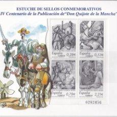 Sellos: IV CENTENARIO DE LA PUBLICACIÓN DEL QUIJOTE. ESTUCHE DE SELLOS CONMEMORATIVOS:. Lote 184459642