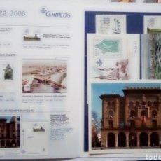Sellos: ESPAÑA CARPETA ALBUM LUJO EXPO ZARAGOZA 2008 2 HOJAS BLOQUE + 2 SELLOS + POSTAL. Lote 185915445