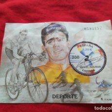 Sellos: HOJA DE BLOQUE DEPORTE ESPAÑA 2000 ZONA EURO MIGUEL INDURIAN 1,20€ SIN GOMA. Lote 186052523