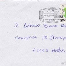 Sellos: SOBRE CON MATASELLO CONMEMORATIVO 125 AÑO FERROCARRIL RIO TINTO. . Lote 186136155