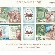 Sellos: ESPAÑA EDIFIL Nº 2583 AÑO 1980 EXPOSICION FILATELICA EXPAMER80 HOJITA SERIE COMPLETA. Lote 186226672