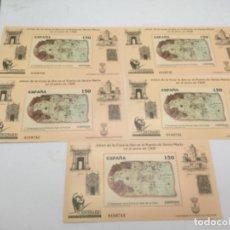 Sellos: 5 HOJAS CON 5 SELLOS ENORMES. V CENTENARIO CARTA JUAN DE LA COSA. Lote 187056125