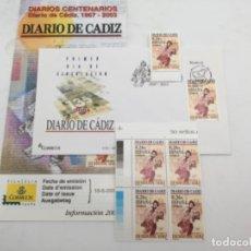 Sellos: CENTENARIO DIARIO DE CÁDIZ. SOBRE PRIMER DIA Y SELLOS NUEVOS BLOQUE DE 4 Y 1. 16.06.2003. Lote 187081112