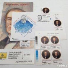 Sellos: JUAN BRAVO MURILLO. SOBRE PRIMER DIA Y SELLOS NUEVOS BLOQUE DE 4 Y 1. 09.06.2003. Lote 187083618