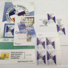 Sellos: CENTENARIO SABADELL F.C. SOBRE PRIMER DIA Y SELLOS NUEVOS BLOQUE DE 4 Y 1. 04.06.2003. Lote 187086098