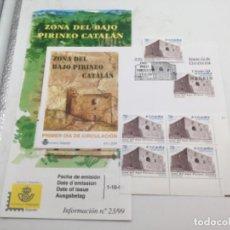 Sellos: BAJO PIRINEO CATALÁN. SOBRE PRIMER DIA Y SELLOS NUEVOS BLOQUE DE 4 Y 1. 01.10.1999. Lote 187200983