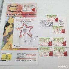 Sellos: JUVENTUD Y DEMOCRACIA. SOBRE PRIMER DIA Y SELLOS NUEVOS BLOQUE DE 4 Y 1. 23.05.2006. Lote 187588381
