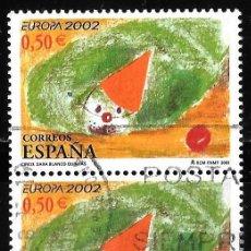 Timbres: ESPAÑA 2002. EL CIRCO. EDIFIL 3896. PAREJA VERTICAL DE 2 SELLOS. USADO. Lote 189333411