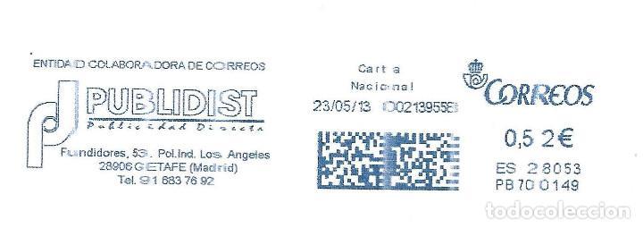 SOBRE COMPLETO. FRANQUEO MECANICO AZUL ENTIDAD COLABORADORA PUBLIDIST. (Sellos - España - Juan Carlos I - Desde 2.000 - Cartas)