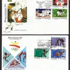 Sellos: ESPAÑA. SPAIN. FDC - OLYMPIADA BARCELONA 92, SERIE OLIMPICA, 4 SOBRES, SERIES 4, 5, 7 Y 8.. Lote 191178960