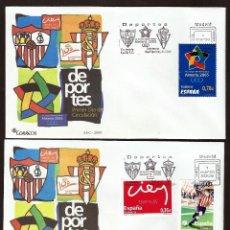 Sellos: FDC. JUEGOS MEDITERRANEOS ALMERIA 2005. SOBRE 100 AÑOS SEVILLA FC Y REAL SPORTING DE GIJON.. Lote 191180533
