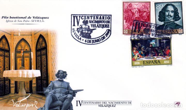 ESPAÑA.- SOBRE ILUSTRADO CON MATASELLOS IV CENTENARIO DE VELAZQUEZ EN SEVILLA. (Sellos - España - Juan Carlos I - Desde 1.986 a 1.999 - Cartas)