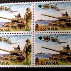 Sellos: ESPAÑA. 2525 FUERZAS ARMADAS: COMPOSICIÓN ALEGÓRICA, EN BLOQUE DE CUATRO. 1979. SELLOS NUEVOS Y NUME. Lote 191356325