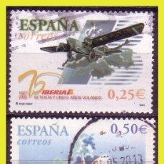 Sellos: 2002 75º ANIVERSARIO PRIMER VUELO DE IBERIA, EDIFIL Nº 3907 Y 3908 (O) . Lote 191578061