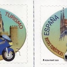 Sellos: SPAIN 2020 - TOURISM - SIGHTSEEING ROUTES ON TWO OR FOUR WHEELS STAMP SET MNH. Lote 191659887