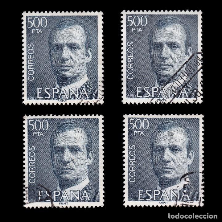 JUAN CARLOS I 1990.500 PTS AZUL.4 SELLOS.USADO.EDIFIL 2607 (Sellos - España - Juan Carlos I - Desde 1.975 a 1.985 - Usados)