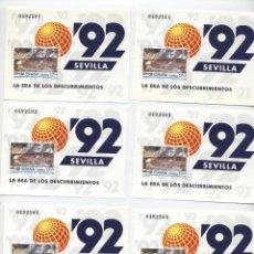Sellos: ESPAÑA 1992. EDIFIL 3191. EXPO 92. SEVILLA. NUEVOS 11 CORRELATIVOS DEL 0492501 A 0492511. Lote 192982867