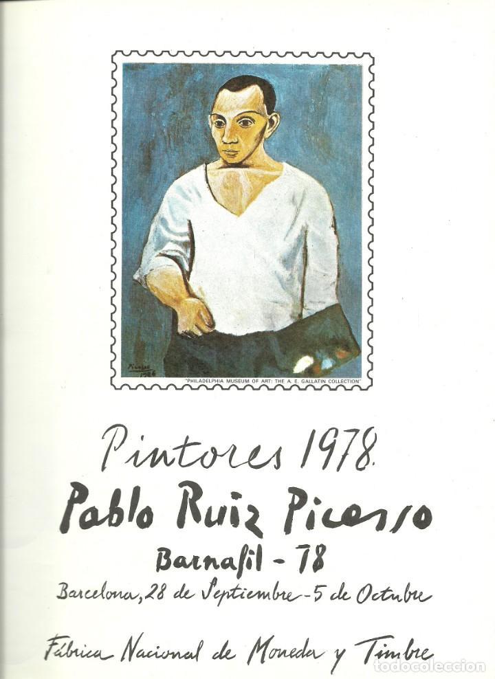 DOCUMENTO FILATÉLICO DE PICASSO CON LA SERIE MATASELLADA , BARNAFIL 78 (Sellos - España - Juan Carlos I - Desde 1.986 a 1.999 - Cartas)