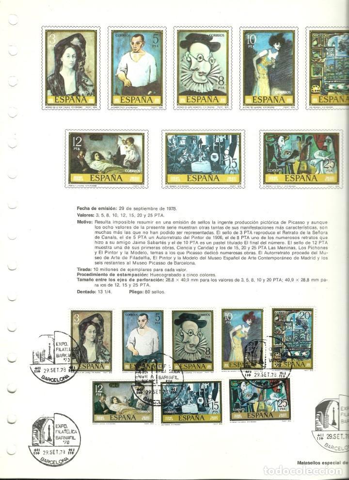 Sellos: Documento filatélico de Picasso con la serie matasellada , Barnafil 78 - Foto 2 - 193240187