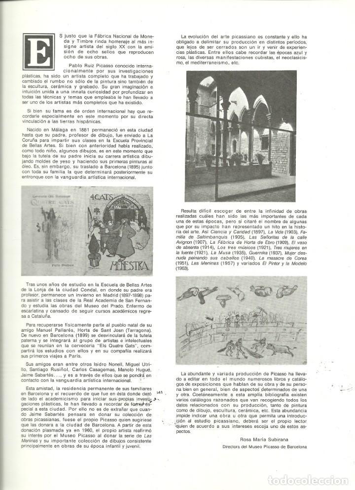 Sellos: Documento filatélico de Picasso con la serie matasellada , Barnafil 78 - Foto 3 - 193240187