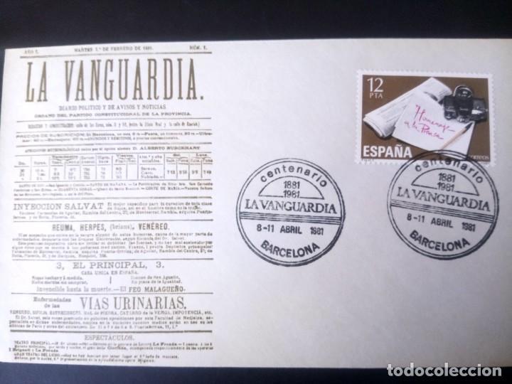 ESPAÑA 1981, CENTENARIO DE LA VANGUARDIA DE BARCELONA, SOBRE Y MATASELLOS CONMEMORATIVO (Sellos - España - Juan Carlos I - Desde 1.975 a 1.985 - Cartas)