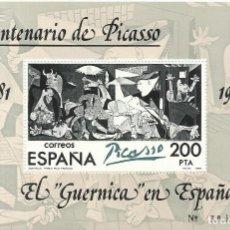 Sellos: CENTENARIO DE PICASSO. 1881-1973. EL GUERNICA EN ESPAÑA. Nº 3866449. NUEVO. 10,5X16,5 CM. . Lote 194627335