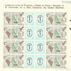 Sellos: CORREO DE INDIAS. ESPAMER. 77. II CENTENARIO DE LA REAL ORDENANZA DEL CORREO MARÍTIMO. 16,5X18 CM. . Lote 194627985