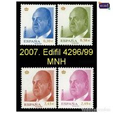 Sellos: ESPAÑA 2007. EDIFIL 4296/99 4299. BÁSICA REY. NUEVO** MNH. Lote 194738532