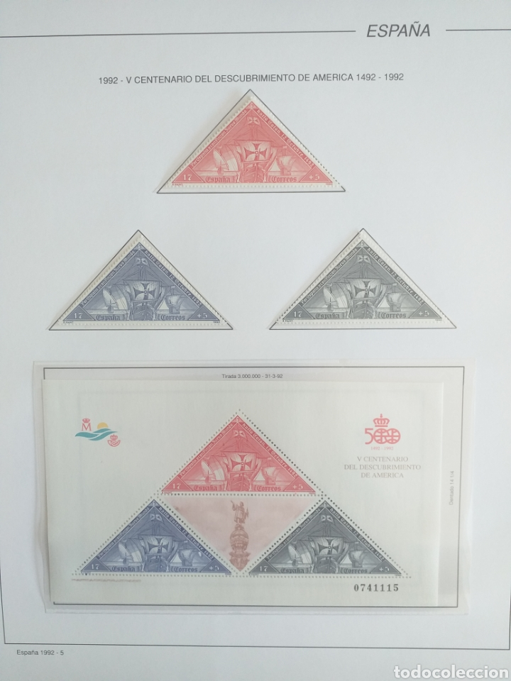Sellos: SELLOS NUEVOS ESPAÑA AÑO 1992 COMPLETO + POSTALES + AEROGRAMAS (SIN FIJA SELLOS) - Foto 6 - 194859620