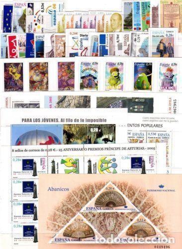 ESPAÑA AÑO 2005 COMPLETO CON CARNET Y HB NUEVO SIN CHARNELA MNH** (Sellos - España - Juan Carlos I - Desde 2.000 - Nuevos)