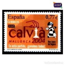 Sellos: ESPAÑA 2004. EDIFIL 4070. OLIMPIADA DE AJEDREZ, CALVIÁ. NUEVO** MNH. Lote 194915186