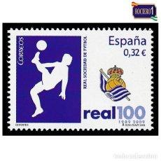Sellos: ESPAÑA 2009. EDIFIL 4504. REAL SOCIEDAD DE FÚTBOL, S.A.D. NUEVO** MNH. Lote 194966838