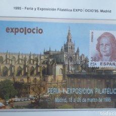 Sellos: ESPAÑA DOS HOJAS RECUERDO AÑO 1995 EXPO OCIO 95 FERIA Y EXPOSICIÓN FILATÉLICA MADRID. Lote 195073502