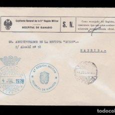 Sellos: *** CARTA BURGOS-MADRID 1978. RARA FRANQUICIA HOSPITAL DE GANADO DE 6º REGIÓN.(BURGOS) ***. Lote 195234788