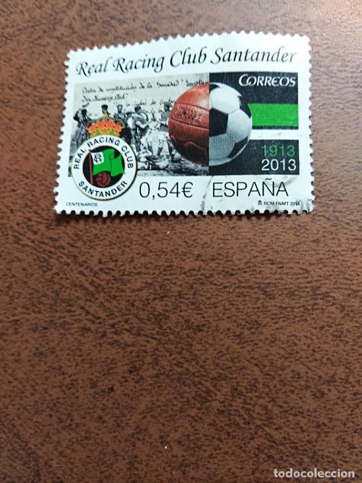 SELLO CENTENARIOS REAL RACING CLUB SANTANDER ESPAÑA (Sellos - España - Juan Carlos I - Desde 2.000 - Usados)