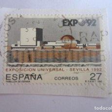 Sellos: SELLO DE ESPAÑA. 27 PESETAS. EXPOSICION UNIVERSAL - SEVILLA 1992. PABELLON DE ESPAÑA. Lote 195542955