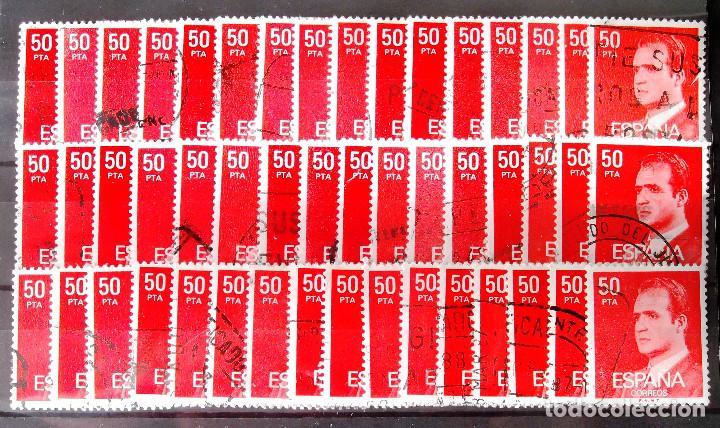 2601P, CUARENTA Y OCHO SELLOS USADOS, FOSFORESCENTES. EN UNA FICHA. LOS DE LA FOTO. JUAN CARLOS. (Sellos - España - Juan Carlos I - Desde 1.975 a 1.985 - Usados)