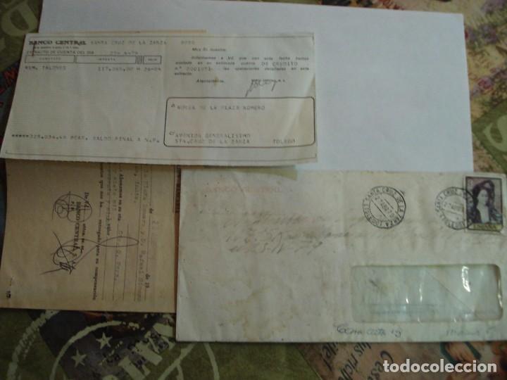 SOBRE CON DOCUMENTACION BANCARIA MATASELLOS SANTA CRUZ DE LA ZARZA TOLEDO (Sellos - España - Juan Carlos I - Desde 1.975 a 1.985 - Cartas)
