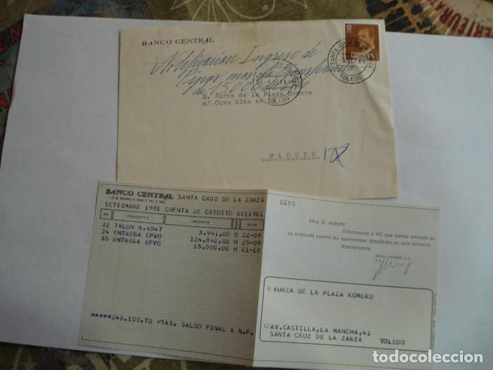 SOBRE BANCO CENTRAL CON DOCUMENTACION MATASELLOS SANTA CRUZ DE LA ZARZA 1981 (Sellos - España - Juan Carlos I - Desde 1.975 a 1.985 - Cartas)