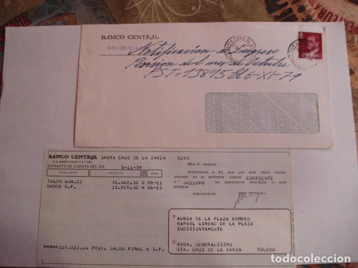 SOBRE BANCO CENTRAL CON DOCUMENTACION BANCARIA MATASELLOS SANTA CRUZ DE LA ZARZA AÑOS 70 (Sellos - España - Juan Carlos I - Desde 1.975 a 1.985 - Cartas)