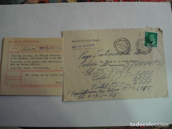 VENDO SOBRE BANCO CENTRAL CON DOCUMENTACION BANCARIA MATASELLOS SANTA CRUZ DE LA ZARZA AÑOS 78 (Sellos - España - Juan Carlos I - Desde 1.975 a 1.985 - Cartas)