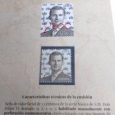 Sellos: CARPETILLA PRESENTACIÓN PERFORACIÓN CONMEMORATIVA V CENTENARIO SELLO ESPAÑA . Lote 195962145