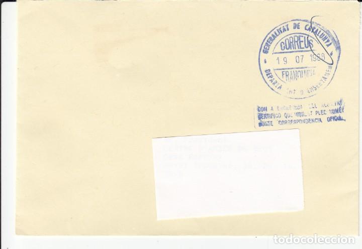 SOBRE CON FRANQUICIA GENERALITAT DE CATALUNYA- DEPARTAMENT D'ENSENYAMENT (Sellos - España - Juan Carlos I - Desde 1.986 a 1.999 - Cartas)