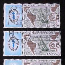 Sellos: 2437, TRES SELLOS USADOS, CON BANDELETAS A LA IZQUIERDA. ESPAMER´77.. Lote 196360863