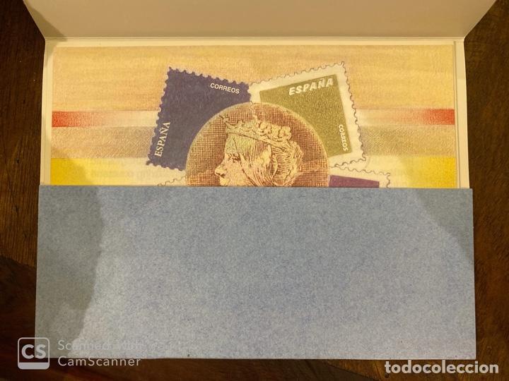 Sellos: ESTUCHE 150 ANIVERSARIO PRIMER SELLO ESPAÑOL. AÑO 2000. PRUEBA DE LUJO Nº 16 + 7 HOJITAS. VER FOTOS - Foto 2 - 196773916