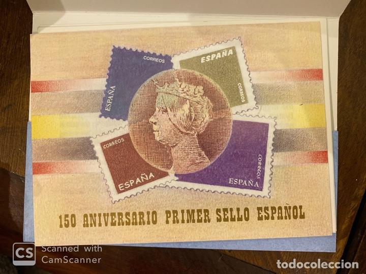 Sellos: ESTUCHE 150 ANIVERSARIO PRIMER SELLO ESPAÑOL. AÑO 2000. PRUEBA DE LUJO Nº 16 + 7 HOJITAS. VER FOTOS - Foto 3 - 196774178