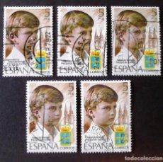 Sellos: 2449, CINCO SERIES EN USADO, CON MATASELLOS DE: GRANADA, TARRASA, VALENCIA, MADRID Y BARCELONA.. Lote 196897032