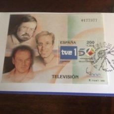 """Sellos: ESPAÑA 2000- HB. """"TELEVISIÓN """" EN ENTRADA A LA EXPOSICIÓN CON MATASELLO ESPECIAL.. Lote 196900531"""
