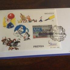 """Sellos: ESPAÑA 2000- HB. """"PRENSA"""". ENTRADA CON MATASELLO EXPOSICIÓN.. Lote 196903940"""