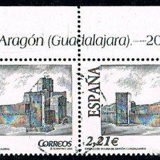 Sellos: EDIFIL 4172, CASTILLO DE ARAGON (GUADALAJARA), USADO EN PAREJA BORDE DE HOJA SUPERIOR. Lote 197451686